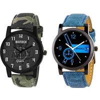 Kajaru K-4,6 Combo Of 2 Youth Army And Blue Watches