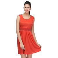 Klick2Style Red Plain Mini Dress For Women