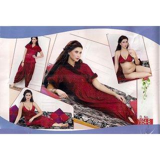 Hot Sleep Wear 6pc Bra Panty Top Patiyala Pajama Nighty  Sheer Robe Maroon Bed