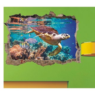 Tortoise come inside the magical wall hole Wall sticker