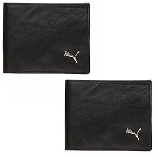 Puma Men Black Genuine Leather Wallets
