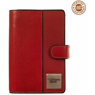 the brown book - Leather Organizer / Planners MI Series-Red Color