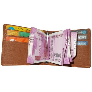 Leatherette Money Clipper Wallet Cum Credit/Debit/ATM Card Holder For Men's in Tan Color New Way to Keep Money in Walle