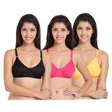 1f366aa6dd Mj fashion black+pink+white non-padded cotton women seamles bra pack of 3  combo