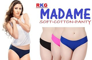 3a410630c3f4 (PACK OF 10) MADAME SOFT Cotton Hipster Ladies Plain Panty/Brief - Multi