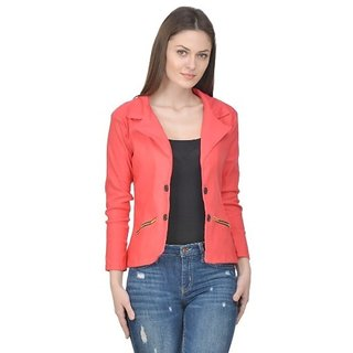 Raabta Fashion Peach Semi Winter Blazer for Women