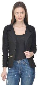 Raabta Fashion Black Semi Winter Blazer for Women