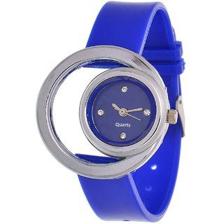 i DIVA'S  Glory Blue style Moon Round Fancy Collection PU Analog Watch - For Women by  JAPAN STORE