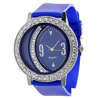 Glory Blue Fancy Diamond Fancy Letest Moon Round Collection Analog Watch - For Women BY JAPAN STORE
