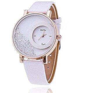 i DIVAS   Women Wadding New Leather Dimond Dial White Girls watch