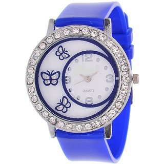 Glory Blue Diamond Fancy Letest Butterfly Print Collection Analog Watch - For Women by MISS