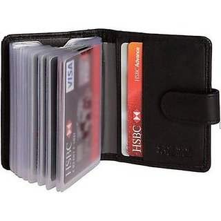 DLT Leather Soft Black Leather Credit Card Holder
