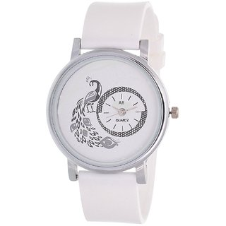 Glory White New style Peacock Dial Fancy Collection PU Analog Watch - For Women by 7Star by sport online