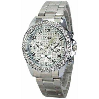 PDU Silver Womens  Girls Designer Fashionable Analog Diamond Studded Fancy Silver Color Strap Watch