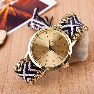 7Star Black colour geneva designer watch
