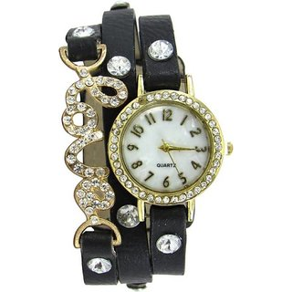 New Black LeatherBelt Love Diamound studded Designing Stylist Analog Watch - For Women