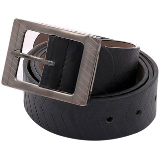 DCH Black Belt For Men (Synthetic leather/Rexine)