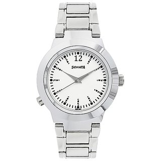 White Dial Metal Strap Safety Watch