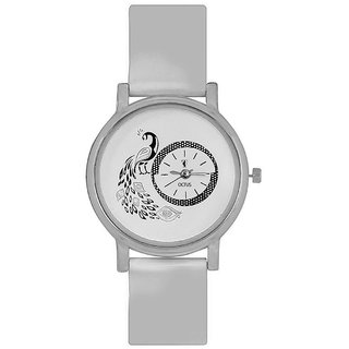 Octus Peacock White Colour Round Dial Analog Watch For Girls And Women