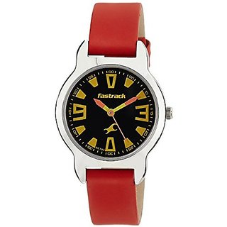 FASTRACK GIRLS LEATHER ANALOG RED WATCH - 6127SL01