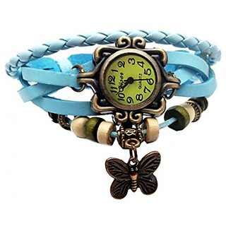 GL Vintage Butterfly Leather Bracelet Antique Analog Display Watch For Women