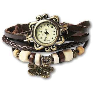 Ravishing Unique Designer Vintage Leather BROWN Butterfly Bracelet Watch for Girls Women