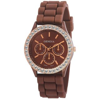 HRV Geneva Brown Analog Watch For Women Girls