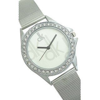 dk Silver Dial Analogue Watch for Girls by Prushti Fashion