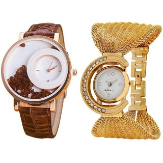 i DIVA'S  Brown Simple Diamond Dial Leather  Gold Zula Metal Analog Watch For Women  Girls Pack Of 2