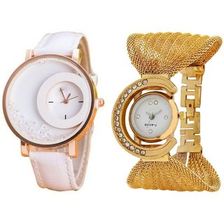 Hans EnterpriseWhite Simple Diamond Dial Leather  Gold Zula Metal Analog Watch For Women  Girls Pack Of 2
