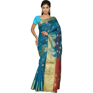 4807994ba0b5a Craftsvilla Brasso Silk Woven Blue   Red Saree With Unstitched Blouse Piece