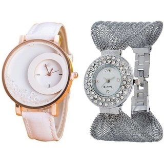 i DIVA'S  White Simple Diamond Dial Leather  Silver Zula Metal Analog Watch For Women  Girls Pack Of 2