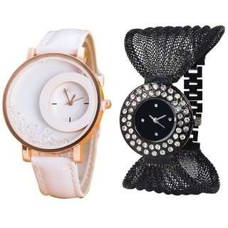 KAYRA FASHION  White Simple Diamond Dial Leather  Black Zula Metal Analog Watch For Women  Girls Pack Of 2