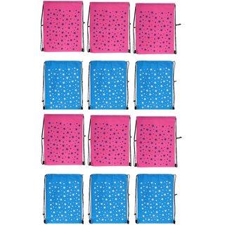 Demoda Printed Gift Bags Haversack For Kids Birthday Party Return Pack Of 126 Pink6 Blue