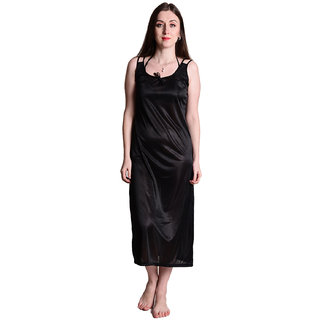 Senslife Women Plain Solid Satin Black, Maroon, Pink, Purple, Red Color Night Gowns & Nighty