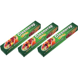 Cleen Wrap Cling film Plastic Wrap 30 mtr Pack of 3-(30x3)-90 MTRS)