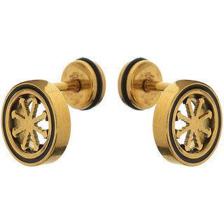 Sanaa Creations Metal Stud Earring For Men (Gold) Daily/Party Wear Stylish Fashion Jewellery for Men/Boys/