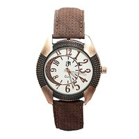 JM Round Dial Brown Leather Strap Quartz Watch For Men