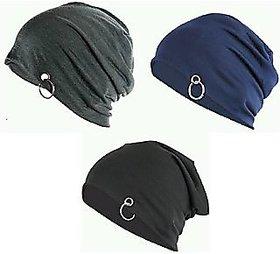 Khurana Beanies Cotton Cap  (Pack of 3)