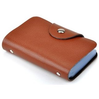 Brown Card Holder - 12 Cards slot for Men (Synthetic leather/Rexine)