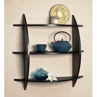 New Look 3 Tier Black Wood Wall Shelfs MW11
