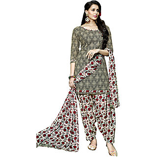 Swaron Black,Beige Poly Cotton Printed Casual Wear Unstitched Patiyala Dress Material