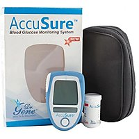 Accusure Blood Glucose Monitor System Glucose Meter ( 10 Test Strips Free)