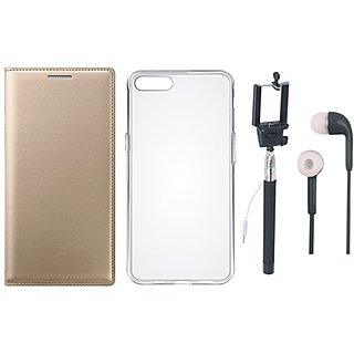 Redmi A1 Leather Flip Cover with Silicon Back Cover, Selfie Stick and Earphones