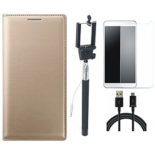 Redmi A1 Leather Flip Cover with Free Selfie Stick, Tempered Glass and USB Cable