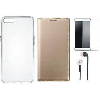 Redmi A1 Leather Flip Cover with Silicon Back Cover, Earphones and Tempered Glass