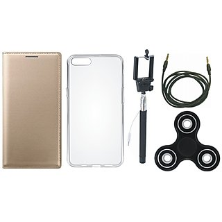 Redmi A1 Leather Flip Cover with Spinner, Silicon Back Cover, Selfie Stick and AUX Cable