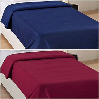 BestWell Premium Plain Single Ac Fleece Blanket - Panipat Kambal Set Of 2 (Assorted Colors)