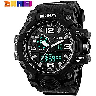SKMEI-1155 Analogue-Digital Black Dial Mens Watch