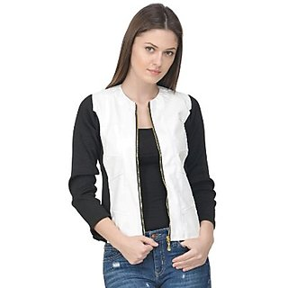 Raabta Fashion White Faux Leather Jacket with Rib